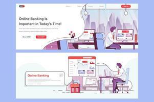 set di pagine di destinazione del banking online vettore