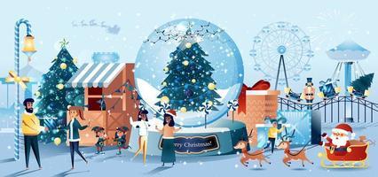 biglietto di auguri di Natale carnevale stile piatto vettore
