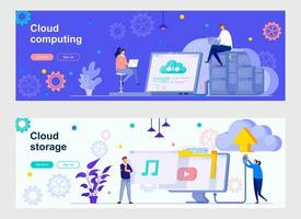 pagina di destinazione del cloud computing con personaggi di persone vettore