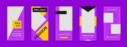 modelli modificabili di vendita di moda impostati per storie sui social media