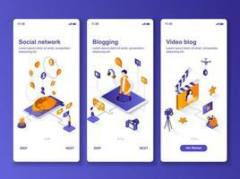 kit di progettazione gui isometrica per la produzione di contenuti di social network vettore