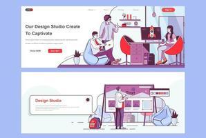 set di pagine di destinazione dello studio di design vettore