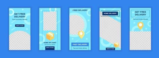 modelli modificabili del servizio di consegna gratuita impostati per storie sui social media. vettore