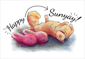 Cute Cat And Pink Slippers per il vettore di domenica