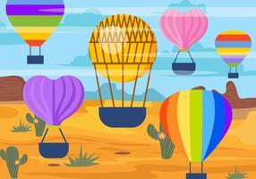 paesaggio di pallone ad aria calda vettore