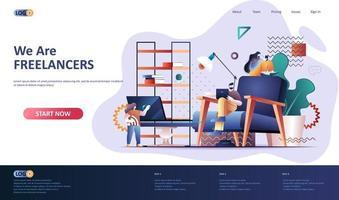 modello di pagina di destinazione piatta freelance