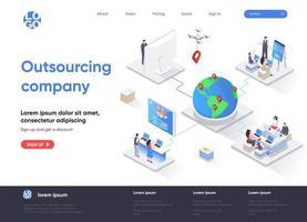 Pagina di destinazione isometrica della società di outsourcing vettore