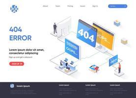 Progettazione isometrica della pagina di destinazione dell'errore 404 vettore