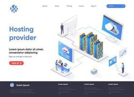 pagina di destinazione isometrica del provider di hosting