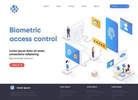 progettazione isometrica della pagina di destinazione del controllo accessi biometrico vettore