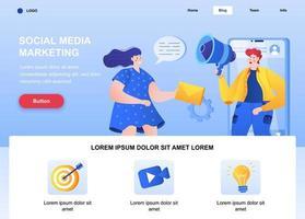 pagina di destinazione piatta di social media marketing vettore