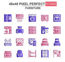 set di icone glifo mobili per la casa vettore