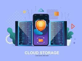 concetto piatto di archiviazione cloud con sfumature vettore