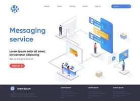pagina di destinazione isometrica del servizio di messaggistica