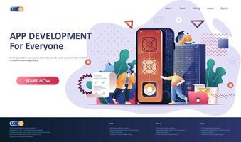 modello di pagina di destinazione piatta per lo sviluppo di app vettore