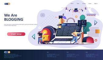 modello di pagina di destinazione piatta per blogging vettore