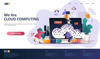 modello di pagina di destinazione piatta cloud computing vettore