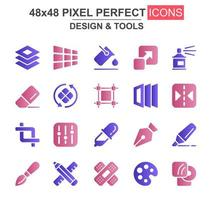 set di icone glifo design e strumenti vettore