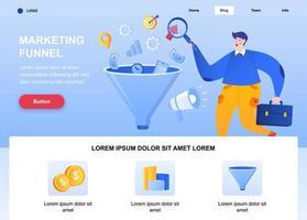 pagina di destinazione piatta dell'imbuto di marketing vettore