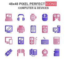 set di icone glifo computer e dispositivi