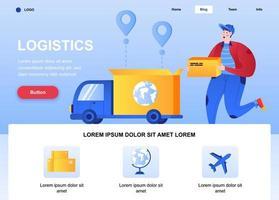 pagina di destinazione piatta logistica