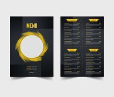 modello di volantino menu ristorante blu e giallo vettore