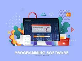 concetto piatto software di programmazione con sfumature vettore
