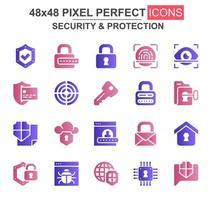 set di icone glifo di sicurezza e protezione vettore