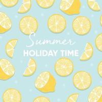 slogan di tipografia del periodo delle vacanze estive e limone fresco vettore