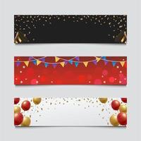 set di banner festa di capodanno vettore