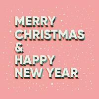 buon natale e felice anno nuovo scritte di testo vettore