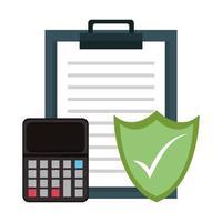 segnala appunti con calcolatrice e scudo di sicurezza