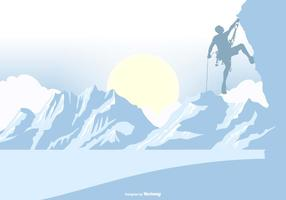 Silhouette di scalatore di montagna su uno sfondo di paesaggio vettore