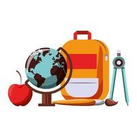 materiali scolastici dei cartoni animati vettore