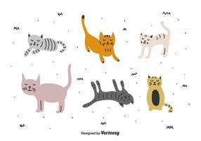 set vettoriale di gatti doodle
