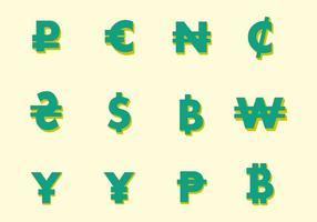 Simboli di valuta vettoriale