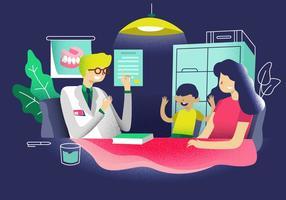 Consultazione del pediatra all'illustrazione di vettore della clinica