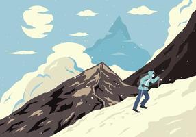 Vettore dell'illustrazione del manifesto dell'alpinista
