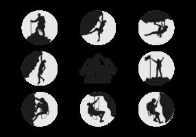 Vettore delle siluette degli scalatori degli alpinisti