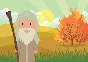 Mosè e il roveto ardente con illustrazione del paesaggio del deserto vettore