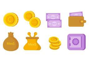 Vettore libero delle icone dei soldi del peso messicano