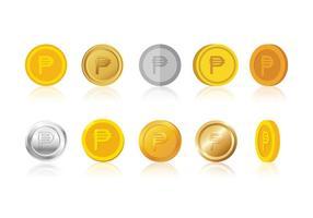 Vettore delle monete di simbolo del peso di valuta