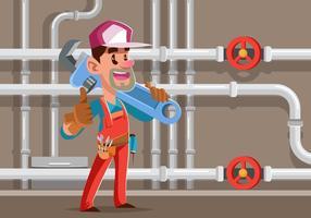 Illustrazione vettoriale di un idraulico commerciante