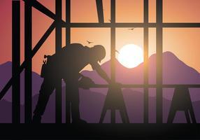 Vettore libero della siluetta di sawing del commerciante