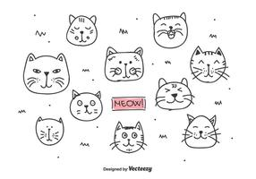 vettore di teste di gatti doodle
