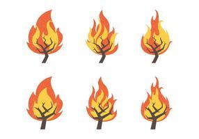 Raccolta dell'illustrazione di vettore di Bush bruciante