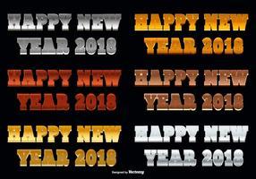 Illustrazione del testo di scintillio del buon anno 2018