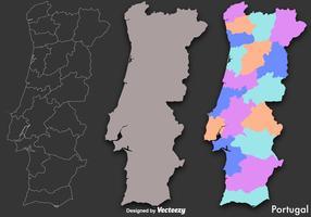 Mappa di Portogallo vettoriale