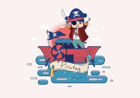 Banner pirata con Caracter Vector