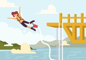 Un uomo che fa il Bungee Jumping vettore